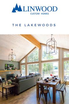 An open-concept main floor includes a great room and dining room with huge windows allowing plenty of natural light and gorgeous views. The Lakewoods home package from Linwood Homes is a cozy two bedroom cottage that provides all you need for a country retreat. Click through to see the efficient floor plan. #linwoodhomes #openconcept #cottageliving
