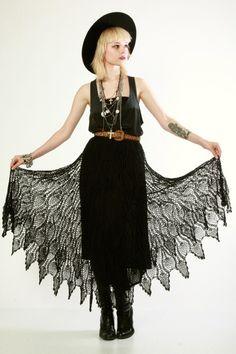 90s does 70s crochet lace dress