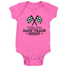 A cute checkered flag on Daddy's Little Race Track Buddy tees, racing t-shirts and apparel for kids and babies. These gifts make cute race car theme baby nursery and kids room decor too.