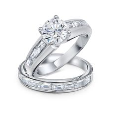 Purchase Art Deco Style Cubic Zirconia Solitaire Baguette Band AAA CZ Engagement Wedding Ring Set For Women Sterling Silver from Bling Jewelry Inc on OpenSky. Share and compare all Jewelry. Elegant Engagement Rings, Engagement Wedding Ring Sets, Wedding Band Sets, Engagement Ring Settings, Wedding Rings, Bling Jewelry, Cz Jewellery, Custom Jewelry, Jewelry Gifts