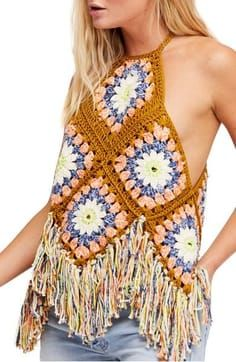 Free People Summer Of Love Cotton Crochet Halter Top Crochet Summer Tops, Crochet Halter Tops, Crochet Crop Top, Cotton Crochet, Crochet Bikini, Knit Crochet, Hippie Crochet, Granny Square Crochet Pattern, Crochet Squares