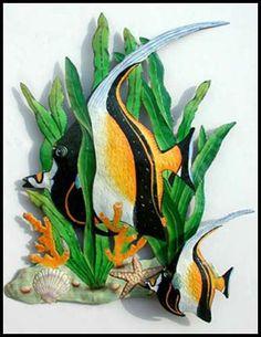 "Handcrafted Tropical Fish - Moorish Idol Wall Hanging  - Hand Painted Metal Tropical Decor - 20"""" x 17"""""