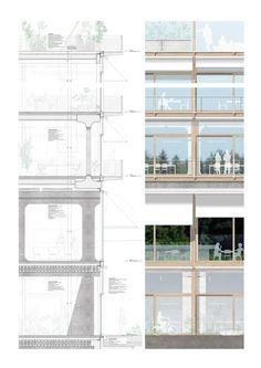 Buchner-Bründler-.-HIC-.-Zurich-afasia-15   a f a s i a Study Architecture, Architecture Details, Zurich, School Of Engineering, Plan Drawing, Loft House, Park Hotel, Hostel, Facades