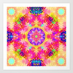 #Pink and #Yellow #Kaleidoscope #Fractal #Pattern #Art #Print #Poster by Hippy Gift Shop - $16.64