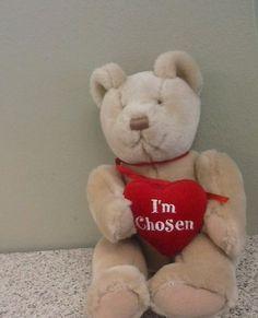 "Brown teddy bear plush ""I Am chosen"" Valentine_Engagement_Valentine #AnimalAdventure #Engagement"