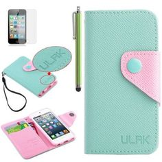 iPod Touch 5 case,ULAK® Mint Green PU Leather Card Holder Wristlet Wallet Type Case Cover For Apple iPod Touch 5th Generation with Stylus and Screen Protector