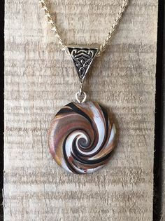 Driftwood Inspired Wave Pendant 1  Polymer Clay by ShackOnTheBeach