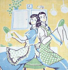 Vintage Towel Jadite Drying Dishes Husband Wife by ClassicMemories, $35.00