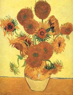 "Dutch post-impressionist painter, Vincent van Gogh (1853 – 1890) which is actually a series of paintings showing bouquets of sunflowers in a vase painted 1888. There was a previous series of sunflowers laying on the ground, but Sunflowers version three and four have become world famous, often printed and replicated. Van Gogh's friend and painter Gauguin said about them: ""That…..it's…..the flower""."