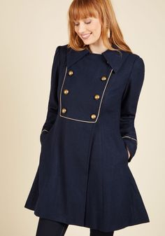 See the Sights Coat. Plan a day to be a tourist in your hometown with this navy coat! #blue #modcloth