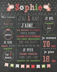 """Affiche personnalisée 1er anniversaire """"Romantique"""" - 20$ #chalkboard #corail"""