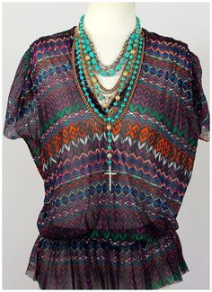 Johnny Heaven by Sweet Pea Boho Tribal Stripe Mesh Peplum Dolman Sleeve Top $68 | eBay