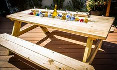 picnic bench with cooler | ... Tips & Products - Mark's DIY Picnic Table Cooler | Hallmark Channel