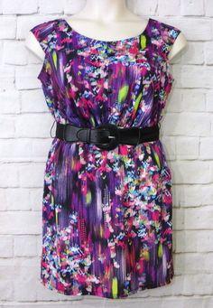 Juniors RUBY ROX Watercolor Print Scoop Neck Empire Waist Belted Dress Size 13 #RubyRox #EmpireWaist #CasualWeartoWork