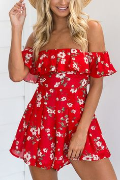 Red Floral Print Off The Shoulder Ruffle Jumpsuit