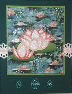 Lovely Lily Pad bling-ed with glimmer paper ~ by Kathy LeDonne at Splitcoaststampers Delphinium Flowers, Flowers Perennials, Delphiniums, Lotus Flowers, Pumpkin Cards, Lily Pad, Container Flowers, Annual Plants, Water Lilies