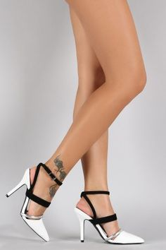 Qupid Pointy Toe Ankle Strap Single Sole Pump