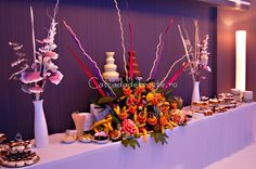 Chocolate fountain and fruit display. www.bardefructe.ro
