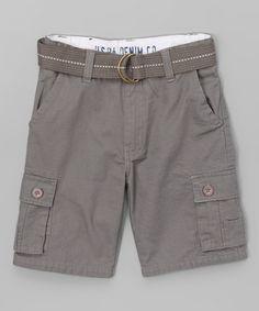 Another great find on #zulily! Dark Gray Belted Shorts - Boys #zulilyfinds