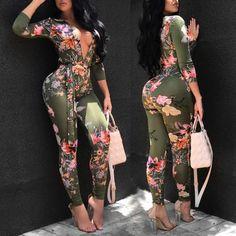 72de2b40e5e Shop Jumpsuits Sexy Deep V Neck Tied Waist Floral Skinny Jumpsuit