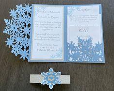 Winter Wedding Invitation Snowflake Invitation Elegant   Etsy Snowflake Invitations, Glitter Invitations, Laser Cut Wedding Invitations, Invitation Envelopes, Elegant Invitations, Invitation Design, Shower Invitations, Invite, Winter Wedding Snow