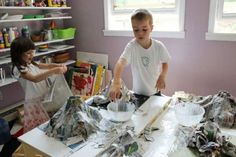 The classic volcano project involves creating a papier-mache structure out of newspaper and a paste of water, flour and glue.