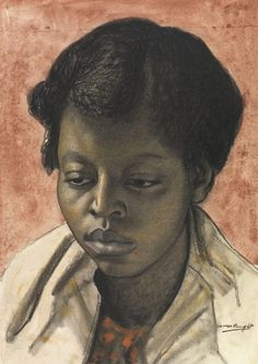 Portrait of a young woman by Laura Knight (1877 - 1970, British artist)