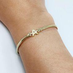 14K Solid Magic letter Herringbone Bracelet /14K Real Gold Filled letter Bracelet / Delicate Bracelet / Gold Bracelet /Dainty Bracelet Solid Gold Bracelet, Dainty Bracelets, Herringbone, Chains, Jewelry Box, Letter, Delicate, White Gold, Magic