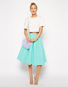 ASOS Premium Prom Midi Skirt In Texture