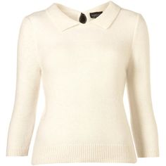 Knitted Fluffy Collar Tie Top (2,075 HNL) ❤ liked on Polyvore featuring tops, sweaters, shirts, blouses, white tops, women, three quarter sleeve shirts, three quarter sleeve tops, short shirts and tie top