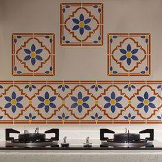 Taj Tile Motif Indian Furniture Stencil | Stenciled Backsplash