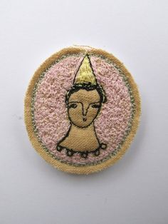 party hat - embroidery brooch