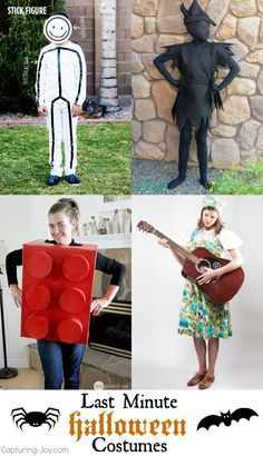 15 Last Minute Halloween Costume Ideas - these quick and easy Halloween costume ideas will help you out when you are pinched for time. Quick N Easy Halloween Costumes, Handmade Halloween Costumes, Creative Costumes, Homemade Halloween, Halloween Activities, Halloween Projects, Diy Costumes, Costume Ideas, Halloween Ideas