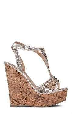 Deb Shops Peep Toe Platform #Wedge Heels with Cutout Flower Design $36.90