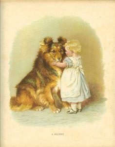 Vintage Edwardian 1900s Ernest Nister Childrens Print Blonde Haired Toddler Tells Dog Secret Antique Colour Bookplate.  , Via Etsy.