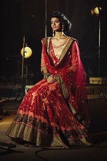 Bridal wear orange & red color lehenga choli