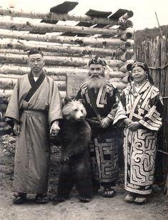 Ainu & Japanese Man With Bear