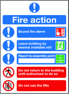 Fire action checklist sign.  Beaverswood - Identification Solutions