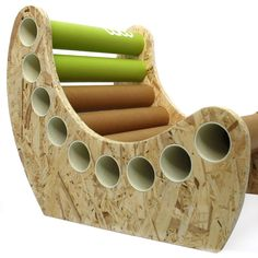 Jabbah - babu™ chair for kids (from 3 years) • Material: OSB + cardboard tube • Handmade design from non conventional materials; each model is unique because of the detail in the finishing of each piece.