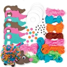 Pom Pom Hedgehogs Bulk Pack Who knew hedgehogs could be so soft? Fun hedgehog decorations for children to create - simply make the pom pom then add the foam decorations and ribbon. Size approx. 11cm. Age 5+.