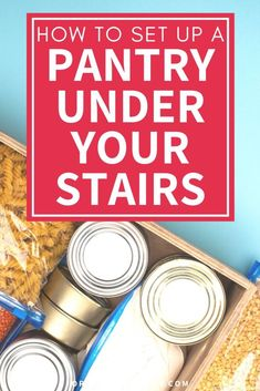 Kitchen Pantry Ideas. How to set up a pantry under stairs food storage system. A pantry organization idea that helps you make the most of unused space. Organizing your kitchen staples is easy if you have more space! #Organizing #MealPrep #organizingmoms Deep Pantry Organization, Pantry Inventory, Organization Hacks, Pantry Ideas, Organization Ideas, Kitchen Ideas, Organizing Tips, Kitchen Recipes, Storage Ideas