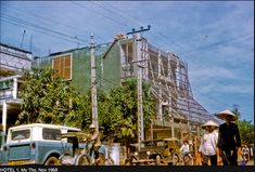 HOTEL My Tho, Nov 1968 Hotel the residence for MACV Team 66 personnel in My Tho city, Dinh Tuong Province, Vietnam IV Corps, as seen in Saigon Vietnam, South Vietnam, Vietnam War, Brown Water Navy, Miss Saigon, My Tho, Mekong Delta, Old Images, Street Photo
