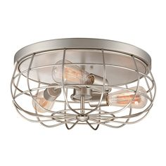Millennium Lighting 5323-SN Neo-Industrial Flush Mount Ceiling Light   ATG Stores