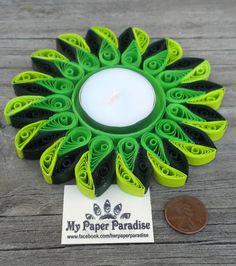 Quilling tealight candle holder - hand crafted decorative green tea light holder