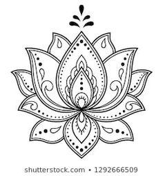 Henna Drawings, Flower Tattoo Drawings, Flower Tattoo Designs, Flower Tattoos, Wrist Tattoos, Henna Patterns, Flower Patterns, Embroidery Patterns, Lotus Drawing