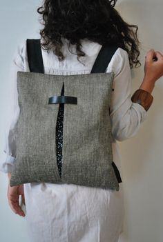 Unique design backpack & messenger bag Gray by misirlouHandmade