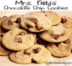 Ingredients: 4 sticks soft butter, 2 cups brown sugar, 1 1/2 cups white sugar. mix together then add 2 tsp vanilla, 3 eggs. beat then add 6 cups flows, 1 1/2 tsp salt, 1 1/2 tsp baking soda, 4 cups chocolate chips. Directions: preheat oven to 350 degrees, bake for 8-10 minutes.