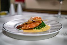 The meal began with a prawn starter. Yum!  See what it's like to fly in Etihad First Class.