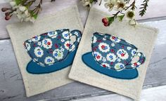 SALE - Fabric Coasters - Set of 2 Tea Cup Coasters - Fabric Gift for Two