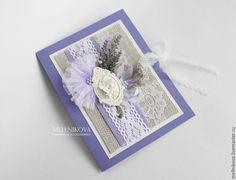 """Купить Свадебная открытка """"Лаванда"""" - сиреневый, свадебная открытка, Открытка ручной работы, открытка на свадьбу"""